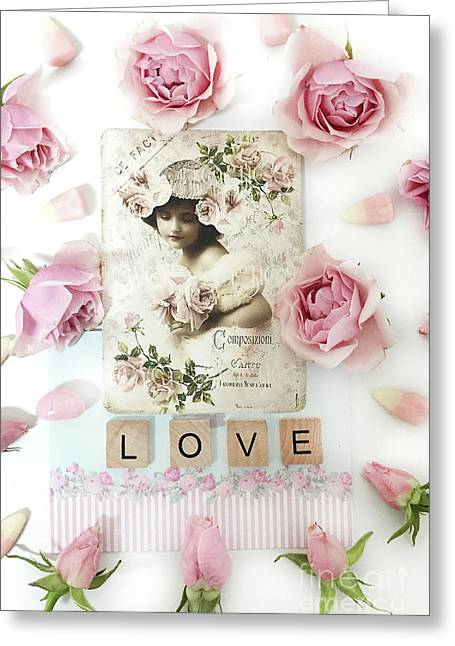 Shabby Chic Love Pink Roses Victorian Floral Vintage French Girl Pink Roses Love Decor Greeting Card