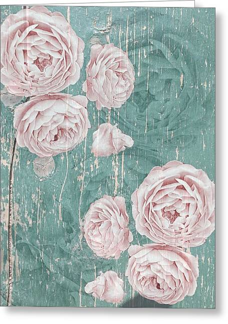 Shabby Chic Roses Distressed Greeting Card