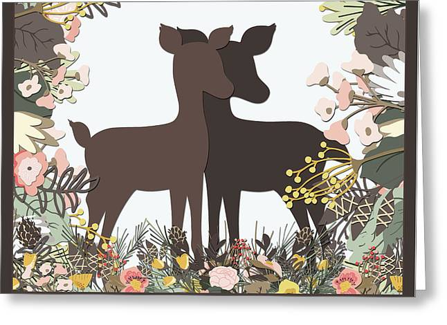 Shadowbox Deer Greeting Card