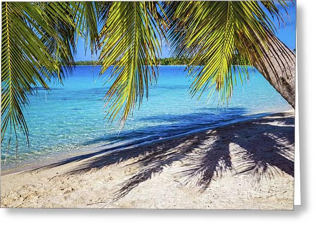 Shadows On The Beach, Takapoto, Tuamotu, French Polynesia Greeting Card