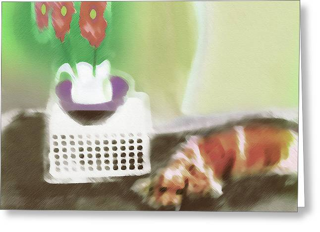 Shaggy And Flowers Painting Greeting Card