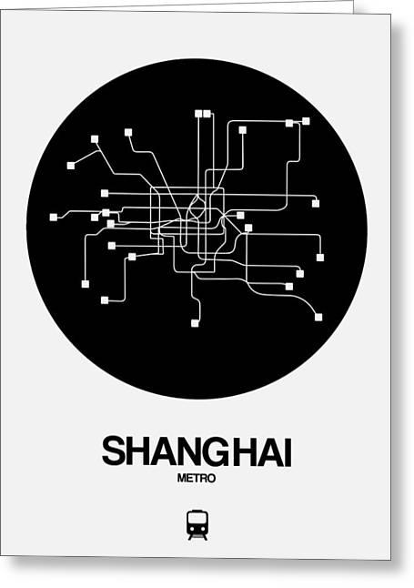 Shanghai Black Subway Map Greeting Card