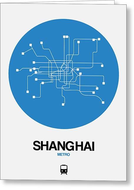 Shanghai Blue Subway Map Greeting Card