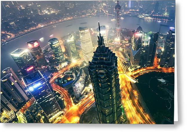 Shanghai Cit Ycenter - Downtown Greeting Card