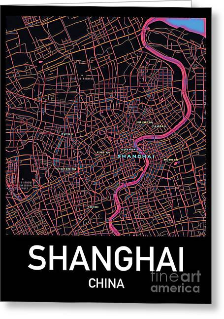 Shanghai City Map Greeting Card