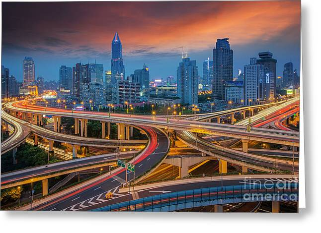 Shanghai Elevated Road Junction And Greeting Card