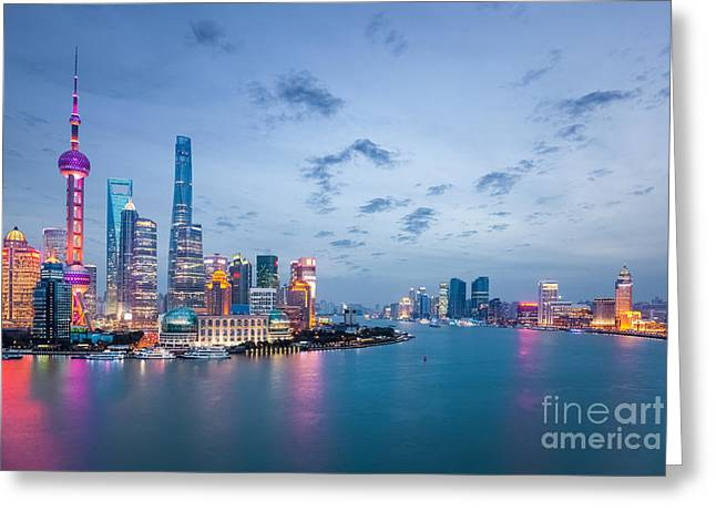 Shanghai In Nightfall, Beautiful Greeting Card