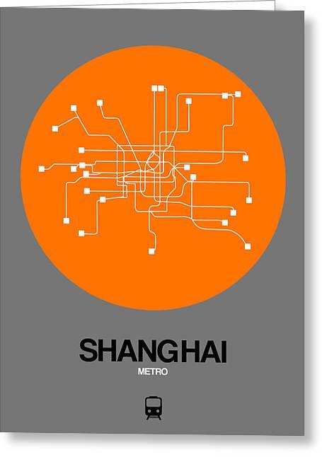 Shanghai Orange Subway Map Greeting Card