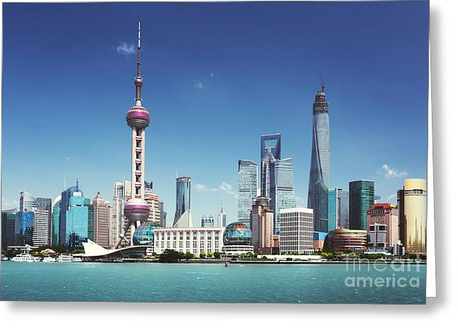 Shanghai Skyline In Sunny Day, China Greeting Card