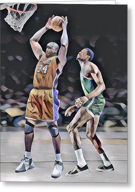 Shaquille O Neal Vs Bill Russell Abstract Art 1 Greeting Card
