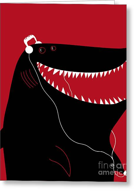 Shark With Headphones And Portable Greeting Card