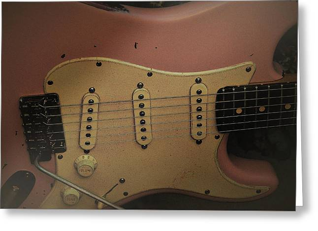 Shelly Pink Guitar Greeting Card
