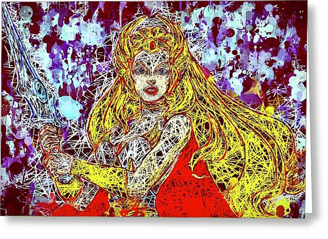 Greeting Card featuring the mixed media She - Ra by Al Matra