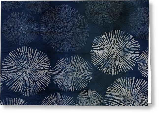 Shibori Sea Urchin Burst Pattern Dark Denim Greeting Card