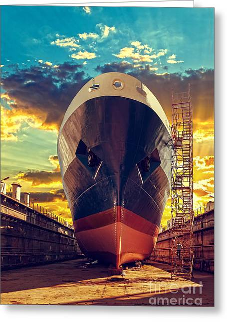 Ship In Dry Dock At Sunrise - Shipyard Greeting Card