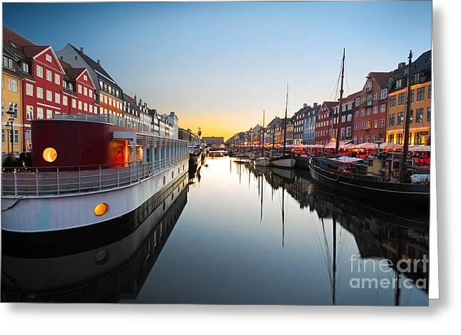 Ships In Nyhavn At Sunset, Copenhagen Greeting Card