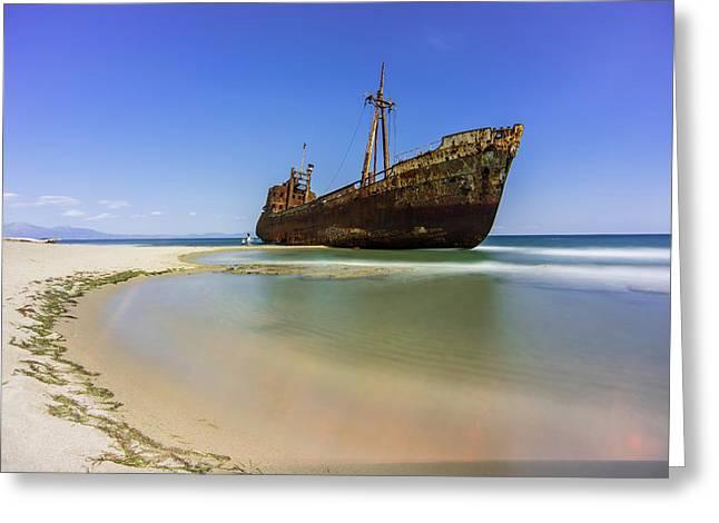 Shipwreck Dimitros Near Gythio, Greece Greeting Card