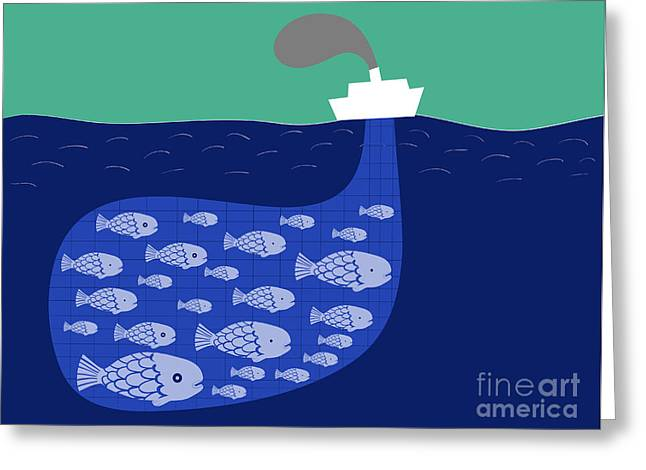 Shoal Of Fish In The Boat Fishnet Greeting Card