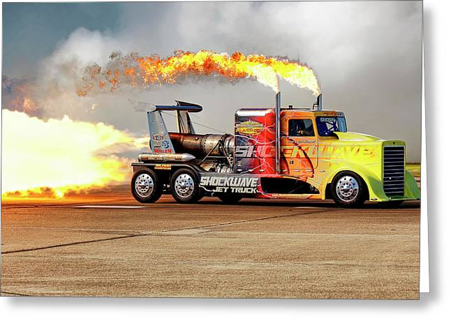Greeting Card featuring the photograph Shockwave Jet Truck - Nhra - Peterbilt Drag Racing by Jason Politte