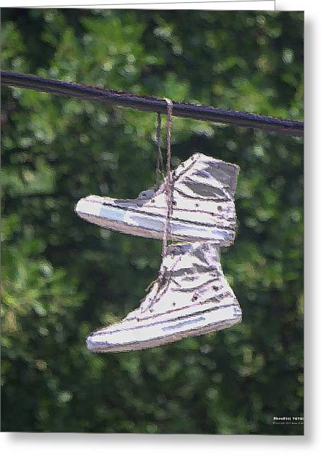 Greeting Card featuring the digital art Shoefiti 72793dp by Brian Gryphon
