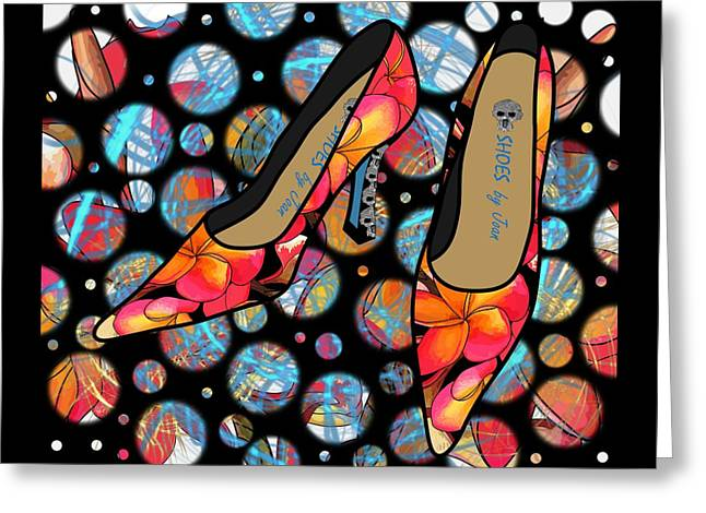 Shoes By Joan - Frangipani Pattern Pumps Greeting Card