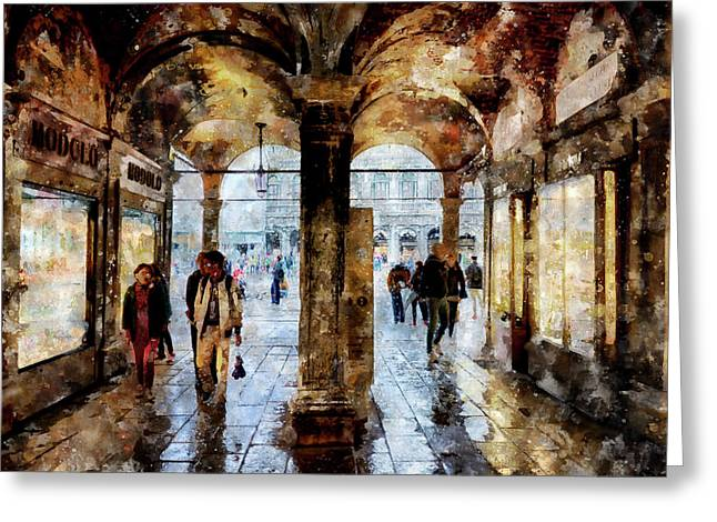 Shopping Area Of Saint Mark Square In Venice, Italy - Watercolor Effect Greeting Card