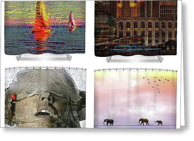 Shower Curtains Samples Greeting Card