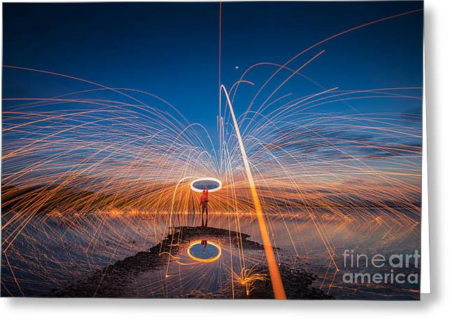 Showers Of Hot Glowing Sparks From Greeting Card