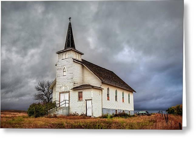 Shuttered Church In Cartwright North Dakota Greeting Card