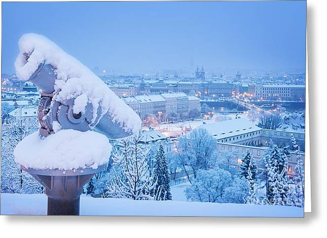 Sightseeing Telescope Near Prague Castle Greeting Card