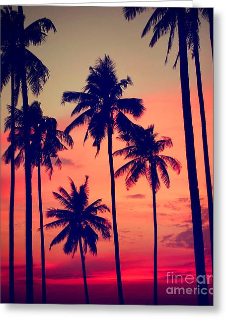 Silhouette Coconut Palm Tree Outdoors Greeting Card