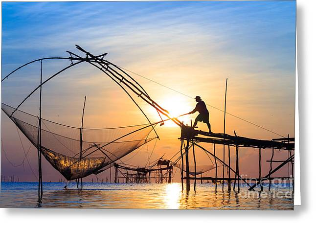 Silhouette Fishermen Are Using Nets Get Greeting Card