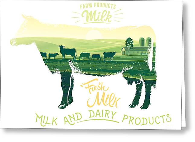 Silhouette Of A Cow Combined With The Greeting Card