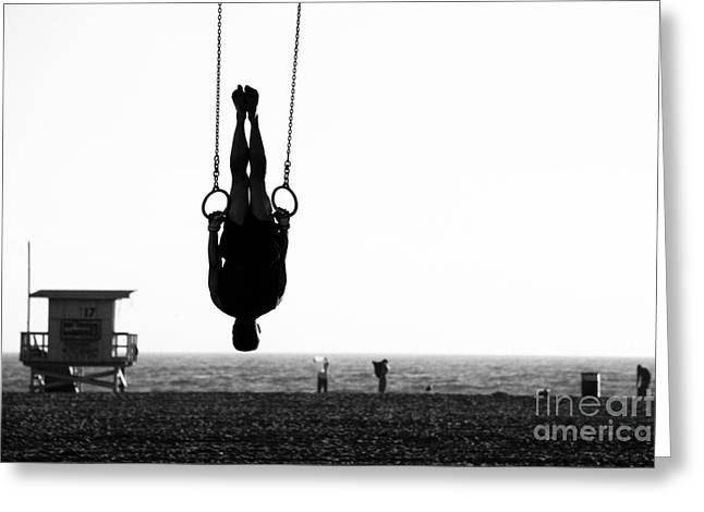 Silhouette Of A Person Swinging On Greeting Card
