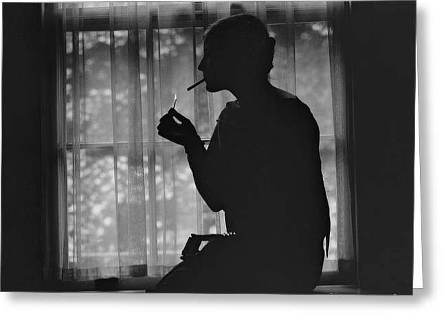 Silhouette Of A Stylish Women Smoking Greeting Card