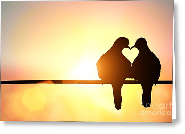 Silhouette Of Bird In Heart Shape On Greeting Card