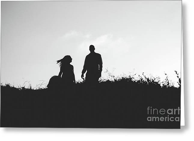 Silhouette Of Couple In Love With Wedding Couple On Top Of A Hill Greeting Card
