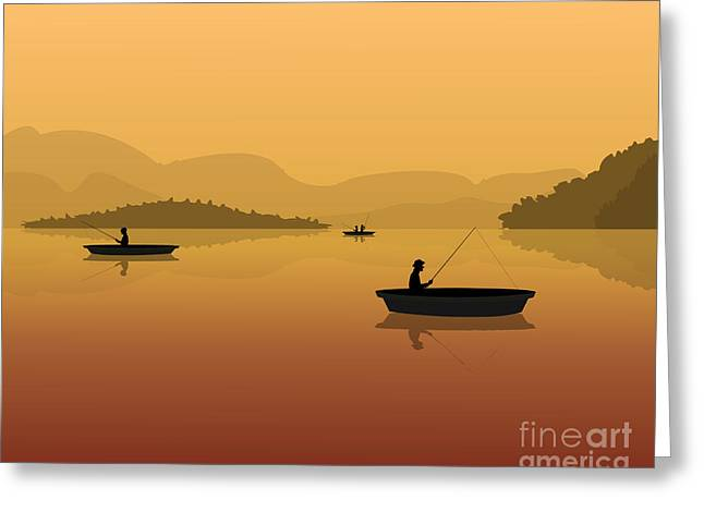Silhouette Of Fishermen In A Boat With Greeting Card