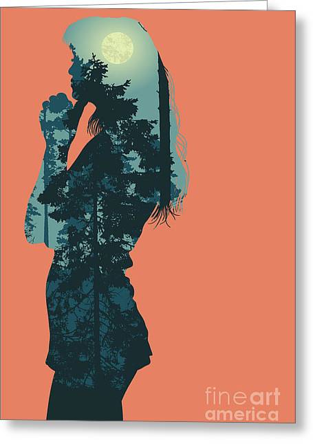 Silhouette Of Girl And Night Forest Greeting Card