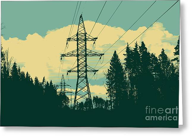 Silhouette Of High-voltage Tower Greeting Card