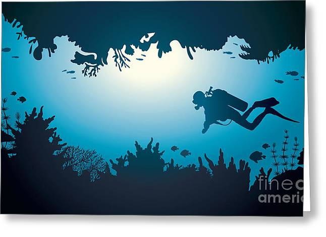 Silhouette Of Scuba Diver And Coral Greeting Card