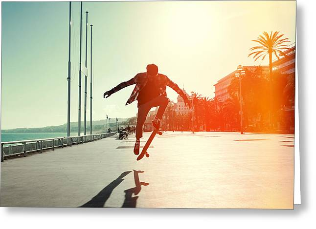 Silhouette Of Skateboarder Jumping In Greeting Card