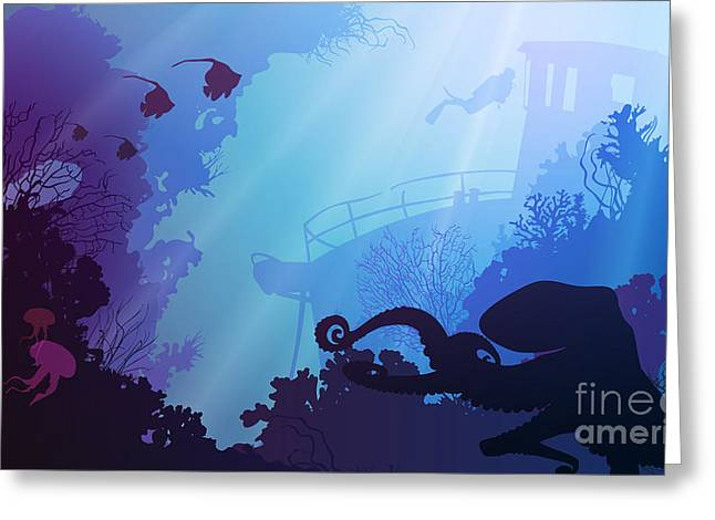 Silhouette Of Underwater Marine Life Greeting Card by Eva mask