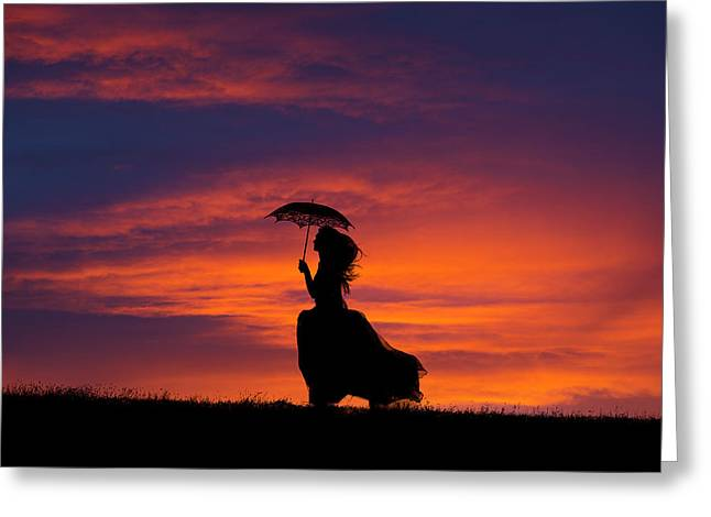 Silhouette Of Young Woman Running At Sunset Greeting Card