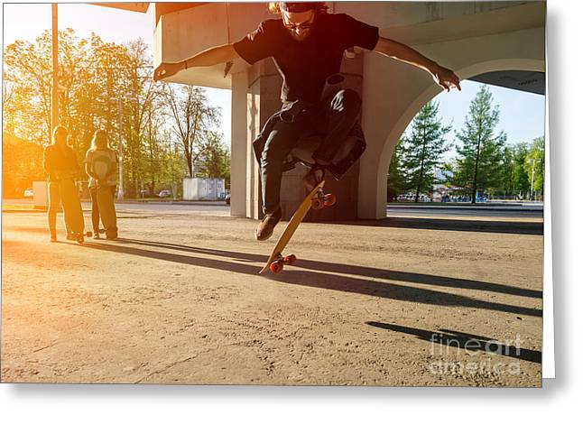 Silhouette Skateboarder Jumping In City Greeting Card