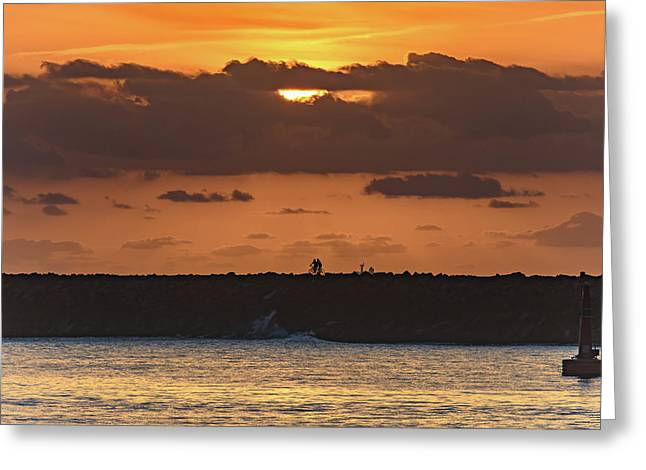 Silhouettes, Breakwall And Sunrise Seascape Greeting Card
