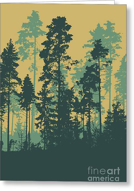 Silhouettes Of Coniferous Forest Greeting Card