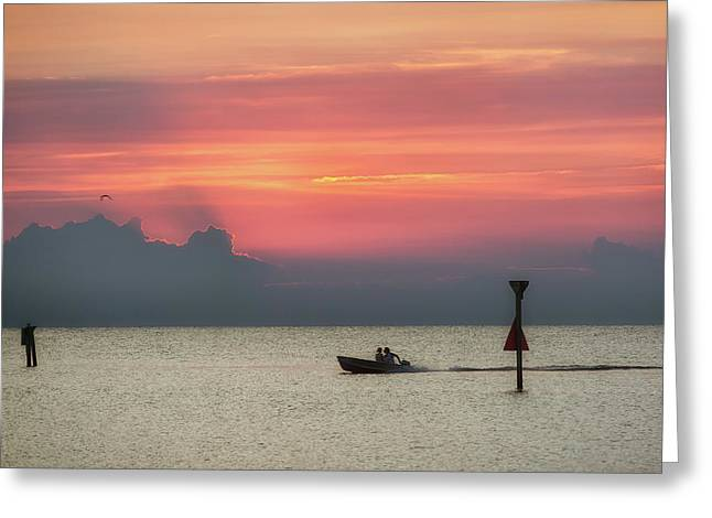 Silhouette's Sailing Into Sunset Greeting Card
