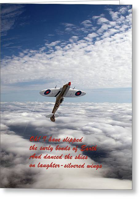 Greeting Card featuring the photograph Silver Spitfire - Slipping The Surly Bonds ... by Gary Eason