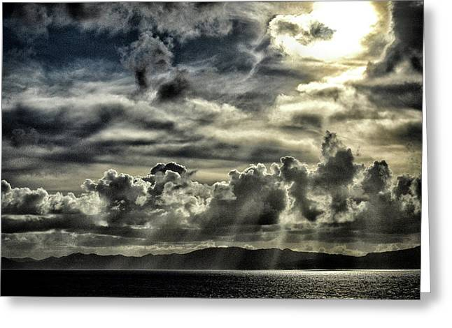Greeting Card featuring the photograph Silver Sun Over St. Lucia by Bill Swartwout Fine Art Photography